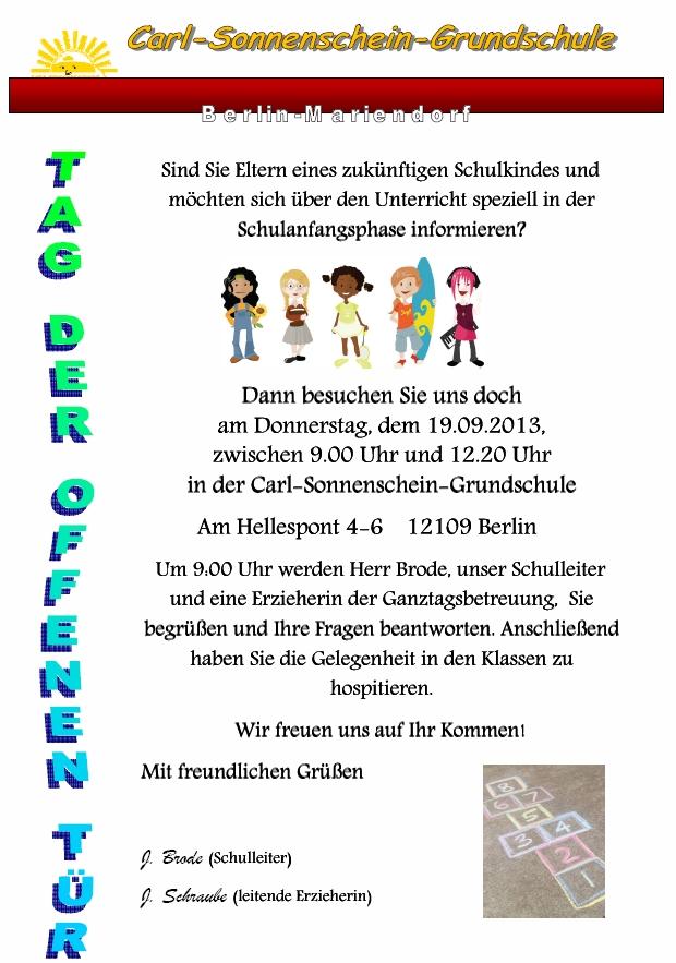 Tag der offenen t r carl sonnenschein grundschule for Tag der offenen tur berlin